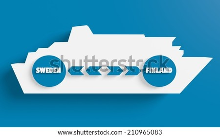 sweden finland ferry boat route info in icons - stock photo