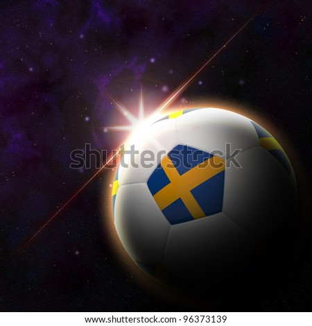 Sweden flag on 3d football with rising sun illustration for Euro 2012 Group D - stock photo