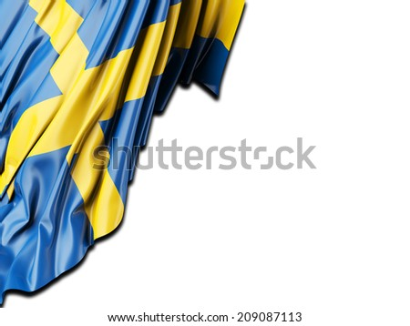 Sweden Flag with white - stock photo