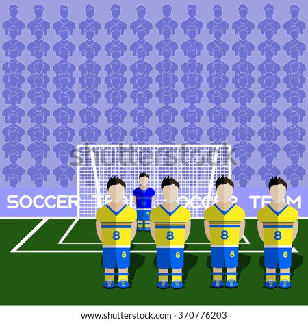 Sweden Football Club Soccer Players Silhouettes. Computer game Soccer team players big set. Sports infographic. Football Teams in Flat Style. Goalkeeper Standing in a Goal. Raster illustration. - stock photo