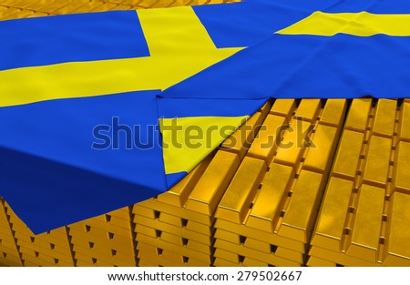 Sweden gold reserve stock: golden bars (ingots) are covered with swedish flag in the storage (treasury) as symbol of national gold and foreign currency reserves, financial health, economic growth - stock photo