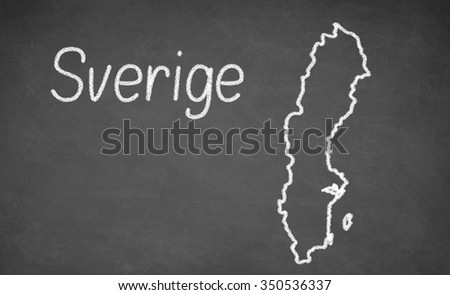 Sweden map drawn on chalkboard. Chalk and blackboard. - stock photo