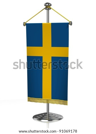 Sweden table flag isolated on white - stock photo