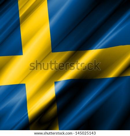 Sweden Waving Flag - stock photo