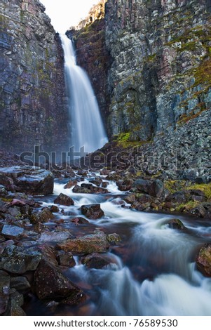 Swedens highest waterfall, Njupeskar , Alvedalens-Kommun, Dalarna. - stock photo