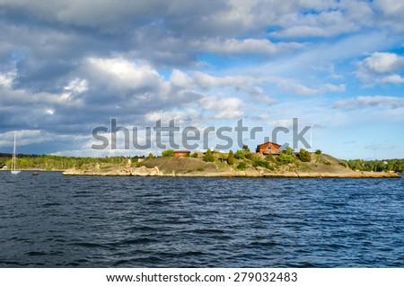 Swedish archipelago panorama in spring season - stock photo