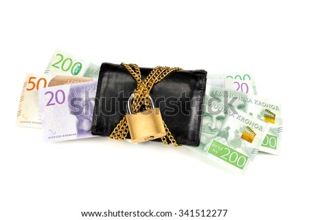 Swedish banknotes in a black wallet locked with a golden chain and padlock isolated on white background. These are some of the new banknotes that were introduced in Sweden year 2015. - stock photo