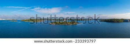 Swedish coast in summer season. Panoramic lanscape - stock photo