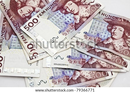 Swedish currency closeup on white background. 500 Kronor - stock photo