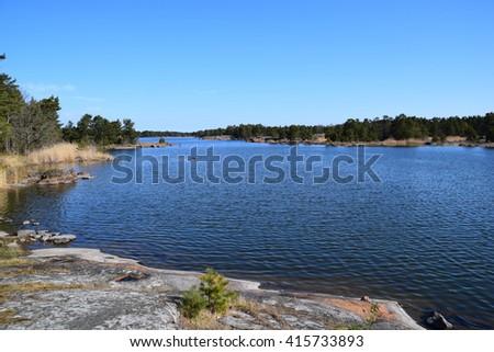 Swedish fjord - stock photo
