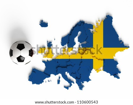 Swedish flag on European map with national borders, isolated on white background - stock photo