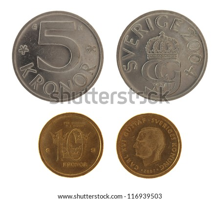 Swedish krona coins depicting Carl XVI Gustaf of Sweden. Obverse and reverse isolated on white. - stock photo