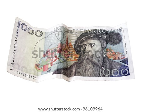 Swedish  1000 kronor closeup on white background. - stock photo