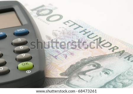 Swedish one hundred crona paper bills on white background. - stock photo