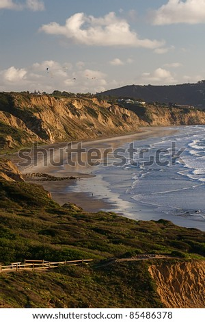 Sweeping view of the rugged California coastline and ocean beaches - stock photo