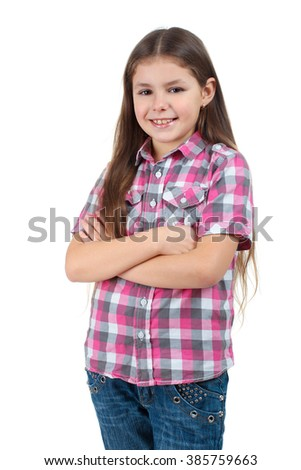 sweet and beautiful girl in blouse isolated on a white background - stock photo