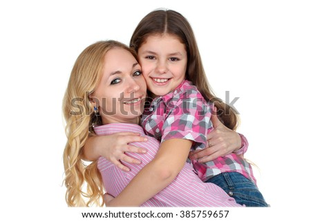 sweet and beautiful little girl hugging mom on white isolated background - stock photo