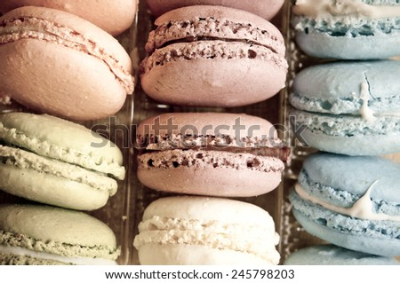 Sweet and colorful french macaroons - stock photo