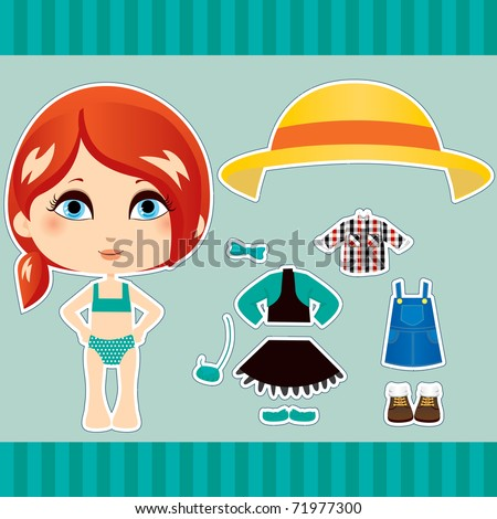 Sweet and cute red haired fashion girl clothes collection set - stock photo