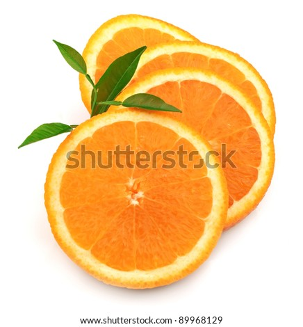 Sweet and juice orange with leafs closeup - stock photo