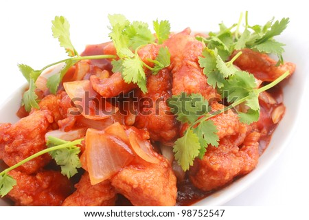 Sweet and Sour Fish isolated on white - stock photo