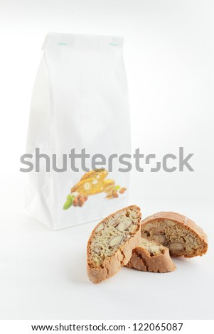 sweet and tasty cantuccini on white background - stock photo
