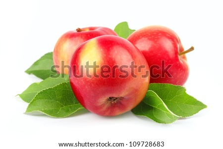 Sweet apple fruit closeup on white background - stock photo