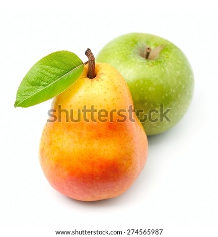 Sweet apples and pears closeup on white - stock photo