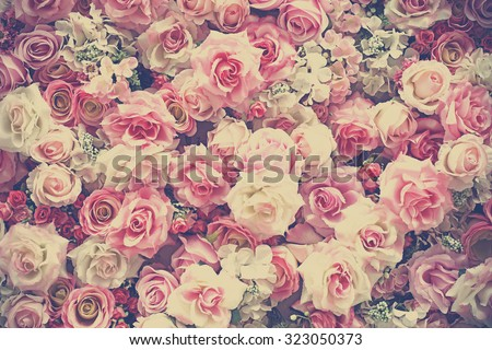 sweet artificial roses background, vintage tone - stock photo