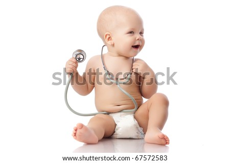Sweet baby with stethoscope on a  white background. - stock photo