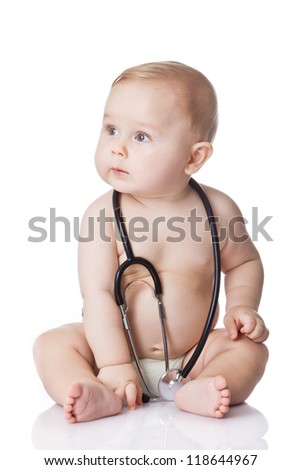 Sweet baby with stethoscope on a white background. Adorable baby boy on white - stock photo