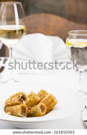 Sweet baklava/Sweet Dessert, portion of delicious baklava served in plate - stock photo