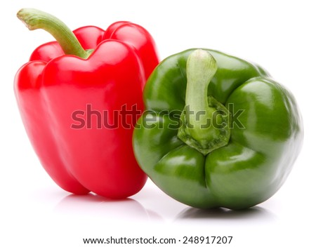 Sweet bell pepper isolated on white background cutout - stock photo