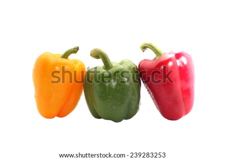 Sweet bell pepper isolated on white background cutout in white backgroud - stock photo