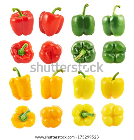 Sweet bell pepper set of four different colors and foreshortenings isolated over a white background - stock photo