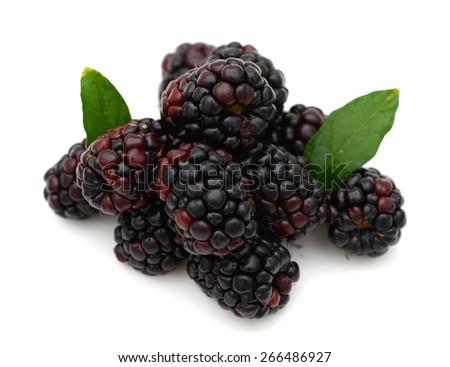sweet blackberries on white background  - stock photo