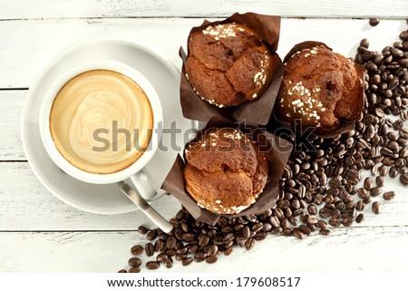 sweet breakfast and fresh morning coffee  - stock photo