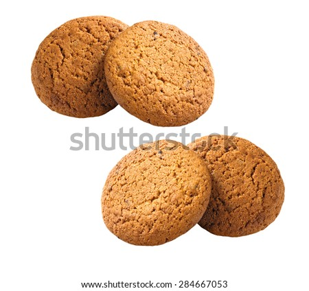 sweet brown oatmeal cookies isolated on white background - stock photo