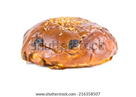 Sweet bun it is isolated on a white background - stock photo