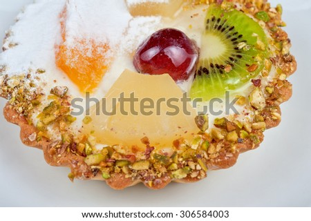 sweet cakes with fruits closeup photo - stock photo