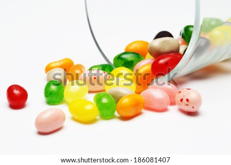 sweet candy jelly beans in glass this colorful - stock photo