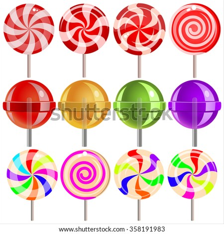 sweet candy lollipops on white background - stock photo