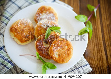 sweet cheese pancakes on a plate  - stock photo