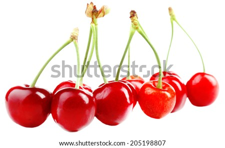 Sweet cherries, isolated on white - stock photo