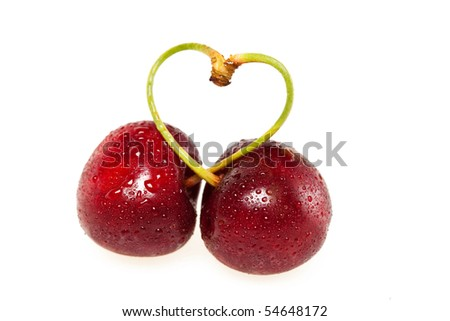 sweet cherries on white background - stock photo
