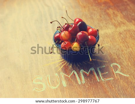 sweet cherry and summer inscription - stock photo