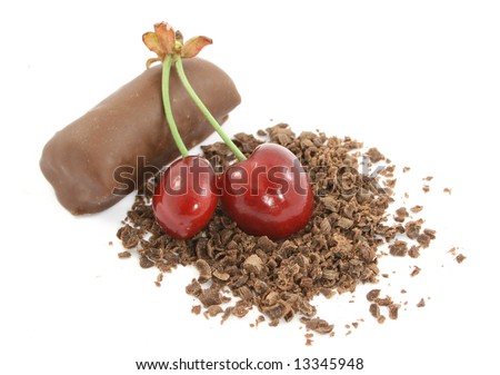 sweet cherry with tasty chocolate - stock photo