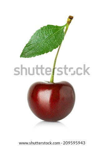 Sweet cherry with the leaf isolated on a white background. - stock photo
