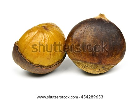 Sweet chestnut and open on a white background - stock photo