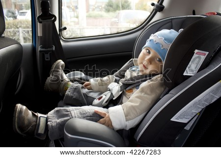 sweet child in car - stock photo